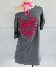 HandMadera: Ripped heart T-shirt DIY! sooo making!