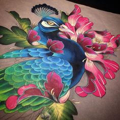 This pretty peacock is still up for grabs! It has a half mandala as a tail. I intended it to be a large thigh/leg or a half back/butt piece. But it could possibly be made into a sleeve too. I won't hold it, so first person to show serious interest with a deposit will get it. #tattoo #Victoriabc #paintedlotus