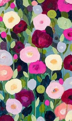 Flower Pattern Painting - Night Garden by Carrie Schmitt Art Floral, Floral Prints, Art Prints, Canvas Prints, Ouvrages D'art, Night Garden, Art Et Illustration, Grafik Design, Art Design