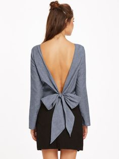 Shop Bow Tie V Back Long Sleeve Top online. SheIn offers Bow Tie V Back Long Sleeve Top & more to fit your fashionable needs. Bow Back Shirt, Bow Tie Shirt, Bow Ties, Grey Bow Tie, Look Fashion, Fashion Outfits, Grey Long Sleeve Tops, European Fashion, European Style