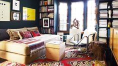 Tips to get design firm Commune's hipster library aesthetic for your home here.