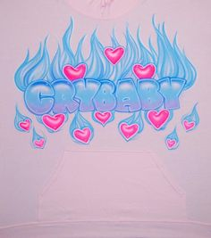 Airbrush fire fiery heart crybaby pastel blue flames glow in dark fluorescent pink hearts block cust airbrush art on canvas nose piercingsairbrush art canvas nose piercings Collage Mural, Photo Wall Collage, Airbrush Designs, Airbrush Art, Graffiti Drawing, Art Drawings, Graffiti Artists, Palette Pastel, Arte Lowrider