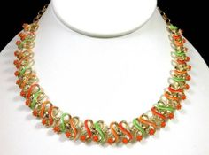 Vintage Orange & Green Enamel Ribbon Necklace w/ Orange Beads Super Colorful! $28.00