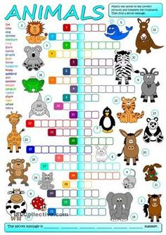 A crossword to practise the names of animals. Students have to match the words to the correct pictures and complete the crossword, then find a secret message. Greyscale and KEY included. Have fun mada :) - ESL worksheets English Games, Kids English, English Resources, English Activities, English Lessons, Learn English, Vocabulary Activities, French Lessons, Spanish Lessons