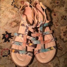 Born leather sandals, great condition Worn only a few times.  Leather multicolor sandals by Born Crown collection, their higher end line.   US 7 / EU 38 and fits like a US 8. Born Shoes Sandals
