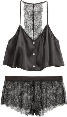 H&M Pajamas in Silk and Lace - Black - Ladies ($70)