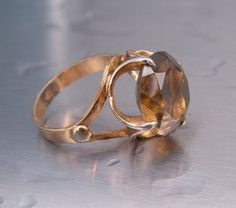 Vintage Ring Costume Smoky Quartz Goldtone by TheJewelryChain, $20.00