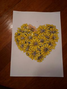Sunflower heart that is easy to color made with marker.