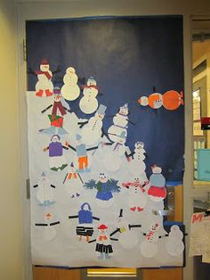 Artistry of Education: The Case of the Missing Snowman Revisited -- How I changed the lesson for my class this year and created a display. Winter Art Projects, Projects For Kids, Craft Projects, Winter Christmas, Winter Holidays, Christmas Crafts, Snowman Door, Build A Snowman, Snow Party