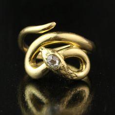 Victorian Old Mine Cut Diamond Snake Ring in 18k by HoardJewelry