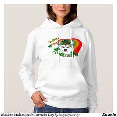 Alaskan Malamute St Patricks Day Hoodie - Fashionable Women's Hoodies and Sweatshirts By Creative Talented Graphic Designers - #hoodie #sweatshirt #fashion #design #fashiondesign #designer #fashiondesigner #style