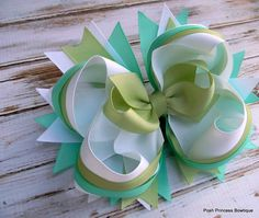 Girls hair bows Boutique hair bows White Aqua Green Hair bows for girls Flower girls hair bow