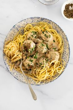 Creamy meatball stroganoff is a twist on a classic favorite. Juicy meatballs cooked in creamy mushroom sauce is sure to be a dinnertime hit. #meatballs #pasta