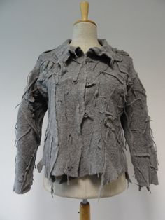 Grey felted coat with felted fringes L size 100% by ZUZABARTSHOP