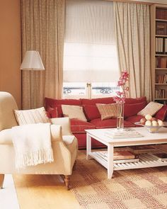 Contemporary Living Room with Red and White Sofas