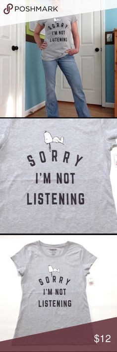 """Snoopy 🐶tee 'I'm not listening' 👍🤣 Tee is 90% cotton/ 10% polyester.  26"""" ↕️bust  17"""" ↔️ armpits I'm a 4-6 in tops. Tops Tees - Short Sleeve"""