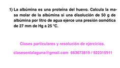 Ejercicio1 propuesto de Presión Osmótica. Química 1º Bachillerato