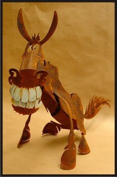 Donkey  3D Metal Art Sculpture  Grinning by GreenTreeJewelry, $59.95