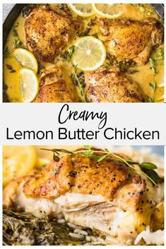 This creamy lemon butter chicken is an easy and tasty dish that is cooked on the. - This creamy lemon butter chicken is an easy and tasty dish that is cooked on the stovetop and then baked in the oven in one pan. Chicken thighs are co. Creamy Lemon Butter Chicken Recipe, Butter Chicken Sauce, Chicken Lemon Cream Sauce, Chicken In White Wine Sauce, Sauce For Baked Chicken, Lemon Chicken Thighs, Lemon And Garlic Chicken, Chicken Breasts, Rosemary Chicken