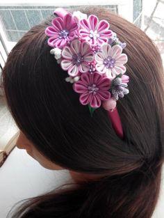 Kanzashi headband/Kanzashi flower/Fabric flower by AirinFlowers
