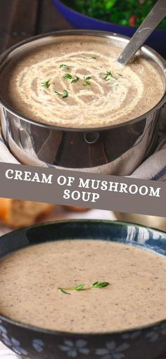 A clever blend of chestnut mushrooms and earthy dried mushrooms gives this soup a complex and delicious flavour. A small dash of cream adds a silky smooth texture that will delight and satisfy the pickiest of mushroom soup lovers. Dried Mushrooms, Creamed Mushrooms, Stuffed Mushrooms, Whole Food Recipes, Soup Recipes, Vegetarian Recipes, Good Food, Yummy Food, Soup And Sandwich