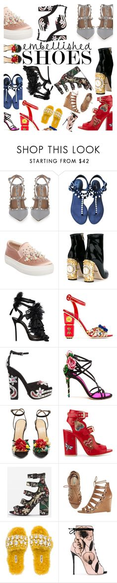 """""""Embellished shoes contest"""" by mirandak24 ❤ liked on Polyvore featuring Valentino, Chanel, Steve Madden, Dolce&Gabbana, Dsquared2, Charlotte Olympia, Laurence Dacade, Topshop, Avon and Miu Miu"""