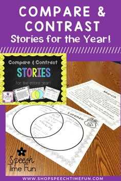 Compare and contrast stories for the entire year.  Perfect print and go activity for speech therapy.  Help your students comprehend this tricky skill at the story level.  Graphic organizers and sorting cards provided.  Color and black and white options provided.