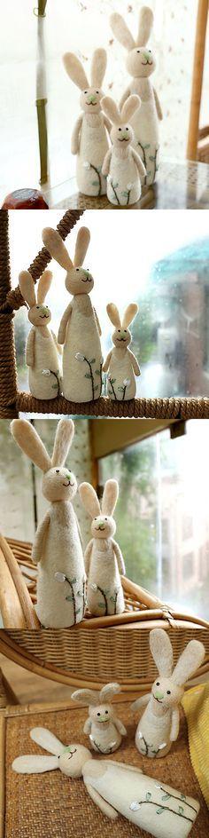 Handmade needle felted felting cute animal project bear bunny doll