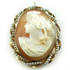 Antique Edwardian Pearl Wrapped 10k Gold And Carved Shell Cameo Pendant Pin. Find more antique and vintage jewelry by visiting us at Regalities.com, or you can click on the following link to view this specific item: http://regalities.com/product/antique-edwardian-pearl-wrapped-10k-gold-and-carved-shell-cameo-pendant-pin/
