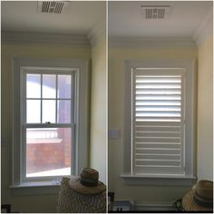 ASAP Blinds | Before & after photos of white plantation shutters with hidden tilt bar (Invisitilt) on a window.