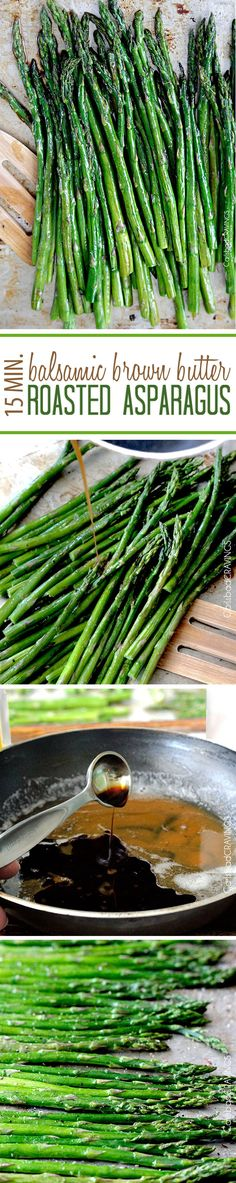 """15 Minute Balsamic Brown Butter Roasted Asparagus. You want this side """"ace"""" in your back pocket! quick and easy made from pantry staples but tastes gourmet enough for any company or special occasions (like Mother's Day!)."""