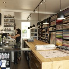 Ray Stitch Haberdashery Shop and Café 99 Essex Road London Butcher Block Countertops, Laminate Countertops, Concrete Countertops, Dark Counters, Kitchen Countertops, Butcher Blocks, Wooden Counter, Copper Counter, Cement Counter