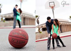 Huntington Beach Engagement Photo, Basketball, Photographer, Engagement Photography, Gilmore Studios, Kiss, Love, Engagement