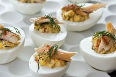 Bobby Flay's deviled eggs with smoked trout in #giadasweekly More