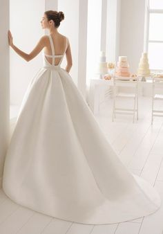 Aire Barcelona boga - beaded mikado wedding dress with halter neckline. Wedding Dress Types, Making A Wedding Dress, Open Back Wedding Dress, Amazing Wedding Dress, Classic Wedding Dress, Backless Wedding, Long Sleeve Wedding, Dream Wedding Dresses, Bridal Dresses