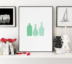 Mint Bottles Print, Green Bottles Wall Art, Bottles Wall Print, Mint Wall Print, Bottles Print, Bottles Poster, Kitchen Print, Kitchen Art