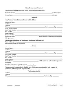 editable cslb home improvement contract form fill online printable cell phone repair contract template sample