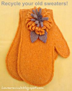 mittens made from felted sweaters