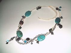 Turquoise, Necklace, Necklaces, Turquoise Necklace, Charm Necklace, Long Necklaces, Boho, Hippie - pinned by pin4etsy.com