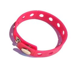"8"" Hot Pink Rubber Bracelet Wristband for Shoe Jibbitz Crocs Charms by Hermes. $6.49. Great Gift or Give as Party Favors.. More Colors Available in Our Store: Pink, Purple, Blue, Pink etc.. Two snap closures. Length: 8"".   Width: 0.75"".. Includes 1 Rubber bracelet wristband - hot pink (crocs charms pictured are not included).. Press the holder of the Charms with a slight twist in the holes of the bracelet."