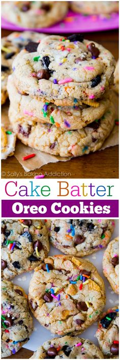 Soft-baked and ultra chewy chocolate chip cookies flavored with cake batter and studded with Oreo cookies!