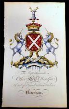 Edmondson Folio Heraldry Engraving Coat of Arms Lewis Windsor 1764 Century Family Shield, Etiquette Vintage, Illuminated Manuscript, Illuminated Letters, Unicorn Art, Ornaments Design, Family Crest, Crests, Coat Of Arms