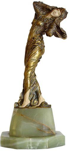 Art Deco Bronze & Ivory figure 'La Favourite by D.H. Chiparus . France C1920