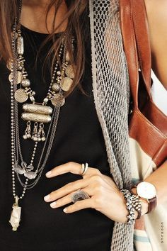 Summer style: Tribal ethnic rustic silver stacked necklaces, rings and bracelets #jewelry
