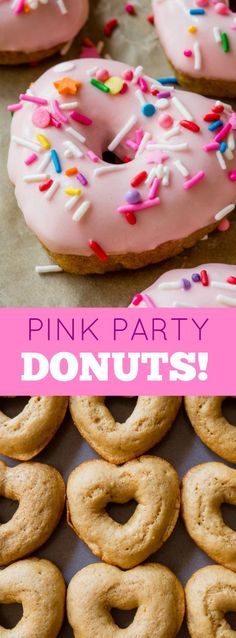 BAKED not fried! Pink frosted vanilla heart shaped donuts with extra sprinkles make ANY morning brighter!! Easy recipe found on sallysbakingaddiction.com