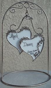 White Stained Glass Sweethearts with Stand Wedding or Anniversary ...