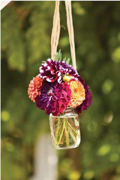 orange & purple flowers, mason jar