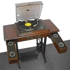 Vintage Singer sewing machine upcycled into turntable console