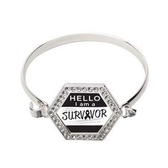 Hello, I Am A Survivor! Black Ribbon Hexagon Bracelet #Survivor #Ribbon #support #awareness