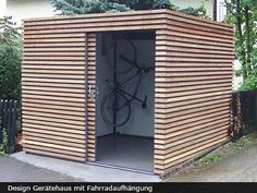 Exklusives Gartenhaus mit Schiebetür The most beautiful picture for wooden home decor , that suits y Garden Cabins, Modern Shed, Modern Carport, Bike Shed, Garden Studio, Garden Buildings, Outdoor Living, Outdoor Decor, Shed Storage